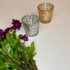 4/$15 Metallic gold n silver votive candle holders